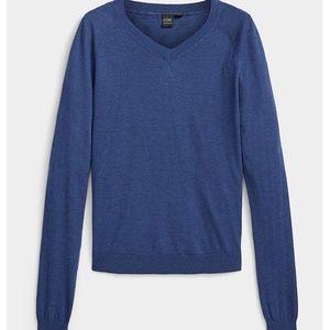 Cashmere touch dark blue V-neck sweater NWT